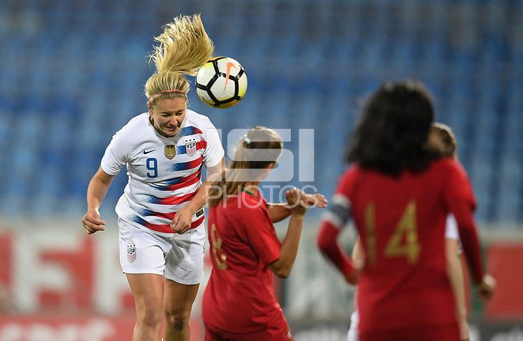 Estoril, Portugal - Thursday November 8, 2018: The women's national teams of the United States (USA) and Portugal (POR) play in an international friendly game at  Estadio António Coimbra da Mota.