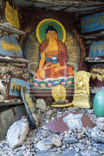 Dharamsala, Himachal Pradesh, India. A Buddhist shrine in the grounds of the Norbulingka Tibetan Institute.