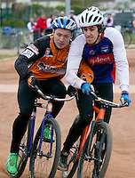 19 APR 2015 - IPSWICH, GBR - Josh Brooke (right) of Ipswich Eagles and Radek Handke (left) of Sheffield Stars battle for position at the start of a heat as they head to the first corner during the two teams Elite League cycle speedway fixture at Whitton Sports and Community Centre in Ipswich, Suffolk, Great Britain (PHOTO COPYRIGHT © 2015 NIGEL FARROW, ALL RIGHTS RESERVED)