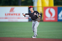 Salem-Keizer Volcanoes second baseman Kyle McPherson (2) throws to first base during a Northwest League game against the Hillsboro Hops at Ron Tonkin Field on September 1, 2018 in Hillsboro, Oregon. The Salem-Keizer Volcanoes defeated the Hillsboro Hops by a score of 3-1. (Zachary Lucy/Four Seam Images)