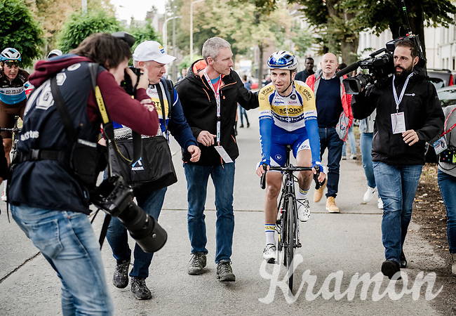 rac ewinner Piet Allegaert (BEL/Sport Vlaanderen-Baloise) escorted to the podium<br /> <br /> 79th Tour de l'Eurométropole 2019 (BEL/1.HC)<br /> One day race from La Louvière to Tournai (177km)<br /> <br /> ©kramon