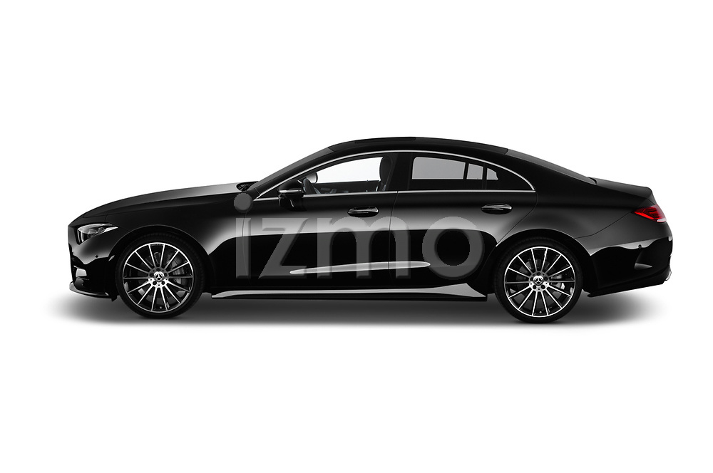 Car driver side profile view of a 2019 Mercedes Benz CLS Coupe AMG line 4 Door Sedan