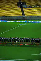 The Maori All Blacks line up before the international rugby match between Manu Samoa and the Maori All Blacks at Sky Stadium in Wellington, New Zealand on Saturday, 26 June 2021. Photo: Dave Lintott / lintottphoto.co.nz