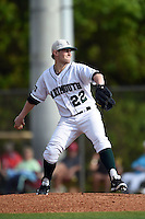 Dartmouth Big Green pitcher Louis Concato (22) during a game against the Ball State Cardinals on March 7, 2015 at North Charlotte Regional Park in Port Charlotte, Florida.  Ball State defeated Dartmouth 7-4.  (Mike Janes/Four Seam Images)