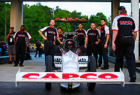 May 4, 2018; Commerce, GA, USA; Crew member for NHRA top fuel driver Steve Torrence during qualifying for the Southern Nationals at Atlanta Dragway. Mandatory Credit: Mark J. Rebilas-USA TODAY Sports