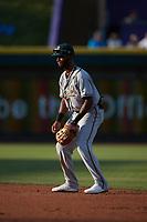 Greensboro Grasshoppers shortstop Liover Peguero (10) on defense against the Winston-Salem Dash at Truist Stadium on June 15, 2021 in Winston-Salem, North Carolina. (Brian Westerholt/Four Seam Images)