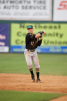 Bristol Pirates shortstop Dean Lockery (12) throws to first base during a game against the Elizabethton Twins on July 29, 2018 at Joe O'Brien Field in Elizabethton, Tennessee.  Bristol defeated Elizabethton 7-4.  (Mike Janes/Four Seam Images)