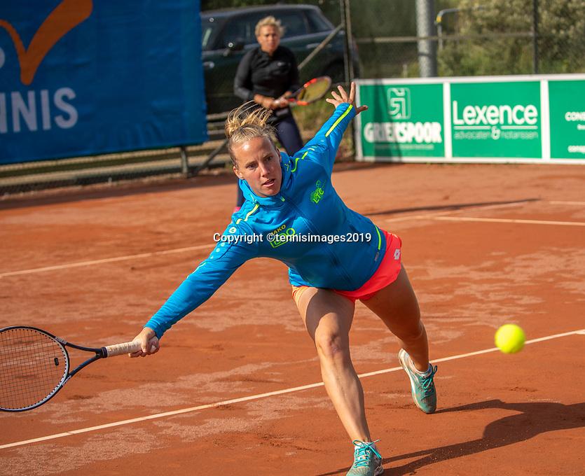Zandvoort, Netherlands, 8 June, 2019, Tennis, Play-Offs Competition, Womans dubbles: Richel Hogenkamp (foreground) and Michaëlla Krajicek (NED)<br /> Photo: Henk Koster/tennisimages.com
