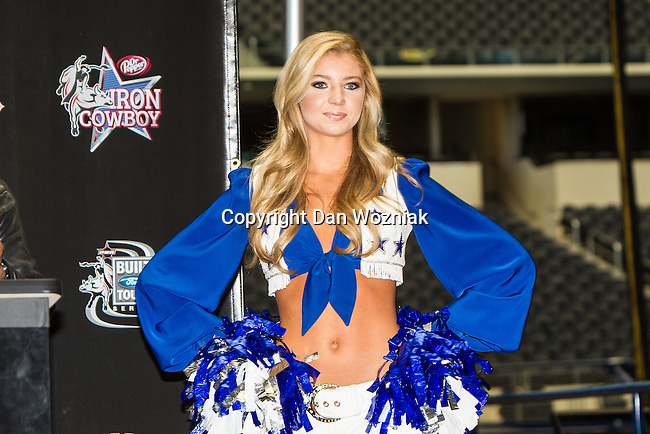 The Dallas Cowboys cheerleaders at the press conference before the Iron Cowboy V event at the AT & T stadium in Arlington, Texas.
