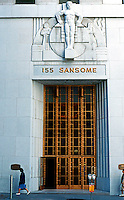 San Francisco: 155 Sansome, The Stock Exchange Tower.  Wonderful 30's Moderne entrance. Sculptor Ralph Stackpole--granite figures. Houses City Club.  Photo '89.
