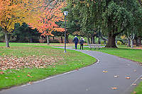 Path with walkers in Skinner Butte Park. Eugene, Oregon