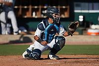 Charleston RiverDogs catcher Michael Berglund (15) on defense against the Augusta GreenJackets at Joseph P. Riley, Jr. Park on June 27, 2021 in Charleston, South Carolina. (Brian Westerholt/Four Seam Images)