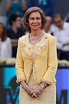 Queen Sofia of Spain during the Madrid tennis Open men's final match ceremony between Rafa Nadal and Andy Murray in Madrid, Spain. May 10, 2015. (ALTERPHOTOS/Victor Blanco)