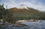 """Mt Katahdin stands snow capped in early fall of the scenic Maine woods, and is the northern terminus of the Appalachian Trail. Oil on canvas, 24' x 37""""."""
