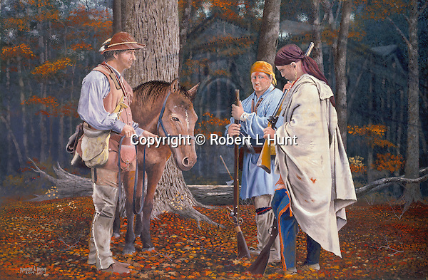 """Early Pennsylvania woodsmen and Indian traders John Hart and Stephen Franks negotiating the trade of a flintlock rifle with one of the Delaware Woodland Indians, deep in the Pennsylvania woods, circa 1750, with the ghost of present-day Alexandria PA Library in the background. Oil on canvas, 20' x 30""""."""