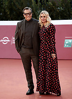 """Italian director Gabriele Muccino poses with his wife Angelica Russo on the red carpet for the screening of the film """"Calabria, terra mia"""" during the 15th Rome Film Festival (Festa del Cinema di Roma) at the Auditorium Parco della Musica in Rome on October 20, 2020.<br /> UPDATE IMAGES PRESS/Isabella Bonotto"""