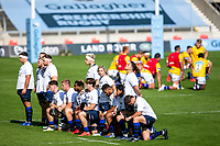 13th September 2020; AJ Bell Stadium, Salford, Lancashire, England; English Premiership Rugby, Sale Sharks versus Bath; Players show their support for the BLM movement