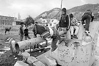 - Albania, bambini giocano fra le macerie dell'Accademia Navale nella città di Valona dopo la guerra civile della primavera 1997<br /> <br /> - Albania, children play in the wreckages of Naval Accademy in the city of Vlora after the civil war in the spring 1987