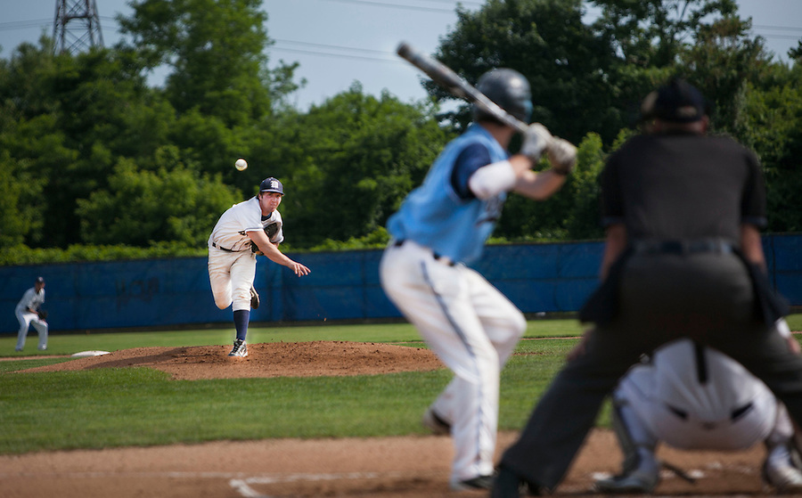 MAE GAMMINO/THE WESTERLY SUN<br /> <br /> Rhode Island High School Baseball playoff game between Westerly High School and Johnston High School on Saturday afternoon, June 9, at Pierce Field in East Providence.