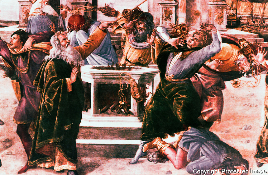 """Vatican:  Sistine Chapel--""""Punishment of Korah"""", part of the fresco by Botticelli on a wall of the Sistine Chapel, 1481."""