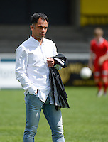 20150627 - Lauwe , BELGIUM : Kortrijk's head coach Johan Walem pictured during a friendly match between Belgian first division team KV Kortrijk and Belgian third division soccer team FC Izegem , during the preparations for the 2015-2016 season, Saturday 27th June 2015 in Lauwe. PHOTO DAVID CATRY