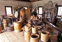 Thunder Bay, Canada, Ontario, Demonstration given by interpreter Inside the Barrel Shop at Old Fort William, Fur Trading Post, in Thunder Bay.