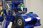 """November 21, 2017, Tokyo, Japan - Japanese robot ventures Asratec and Brave Robotics display the transformable robot """"J-deite Quarter"""" which can change its shape of a robot to a vehicle at the """"Softbank Robot World 2017"""" in Tokyo on Tuesday, November 21, 2017. Softbank's subsidiary Asratec and Brave Robotics have plan to launch a 4m tall transformable human ride robot """"J-deite RIDE"""".     (Photo by Yoshio Tsunoda/AFLO) LWX -ytd-"""