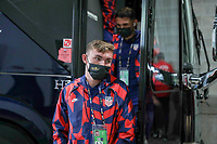 KANSAS CITY, KS - JULY 15: Sam Vines #3 of the United States arriving at the stadium before a game between Martinique and USMNT at Children's Mercy Park on July 15, 2021 in Kansas City, Kansas.