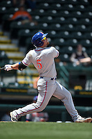 St. Lucie Mets designated hitter Matt Oberste (5) at bat during a game against the Bradenton Marauders on April 12, 2015 at McKechnie Field in Bradenton, Florida.  Bradenton defeated St. Lucie 7-5.  (Mike Janes/Four Seam Images)