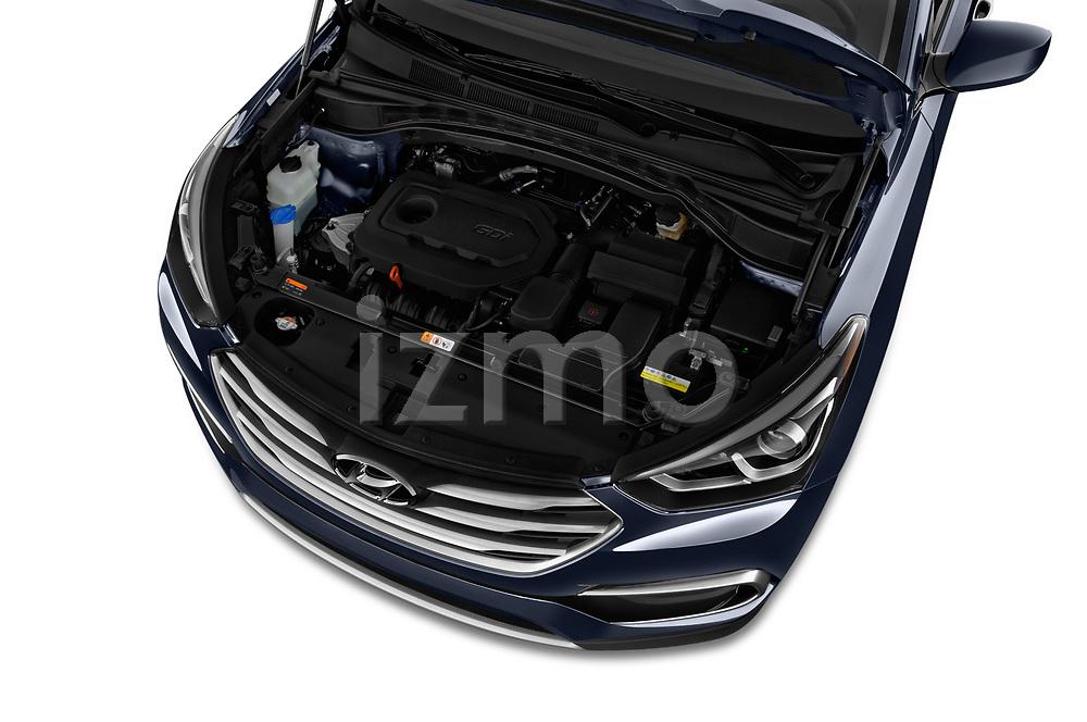 Car stock 2018 Hyundai Santa Fe Sport Base 5 Door SUV engine high angle detail view