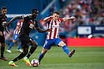 Kevin Gameiro of Atletico de Madrid fights for the ball with Victorien Angban of Granada CF during their La Liga match between Atletico de Madrid and Granada CF at the Vicente Calderon Stadium on 15 October 2016 in Madrid, Spain. Photo by Diego Gonzalez Souto / Power Sport Images