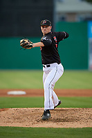 Batavia Muckdogs starting pitcher Remey Reed (32) during a NY-Penn League game against the State College Spikes on July 2, 2019 at Dwyer Stadium in Batavia, New York.  Batavia defeated State College 1-0.  (Mike Janes/Four Seam Images)