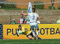 St Louis Athletica goalkeeper Hope Solo (1) makes a save on a shot by Los Angeles Sol defender Allison Faulk (3) during a WPS match at Hermann Stadium,  in St. Louis, MO, April 25 2009. The match ended in a 0-0 tie.