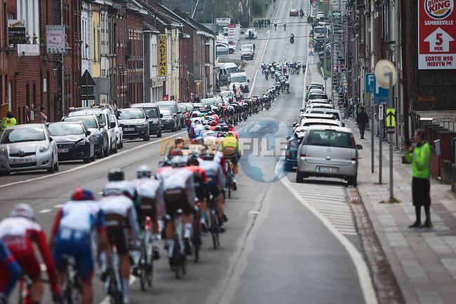 The peloton lined out during the 2021 Flèche-Wallonne, running 193.6km from Charleroi to Huy, Belgium. 21st April 2021.  <br /> Picture: A.S.O./Aurélien Vialatte | Cyclefile<br /> <br /> All photos usage must carry mandatory copyright credit (© Cyclefile | A.S.O./Aurélien Vialatte)
