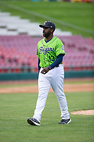 Kane County Cougars manager Vince Harrison (13) during a Midwest League game against the Cedar Rapids Kernels at Northwestern Medicine Field on April 28, 2019 in Geneva, Illinois. Cedar Rapids defeated Kane County 3-2 in game two of a doubleheader. (Zachary Lucy/Four Seam Images)