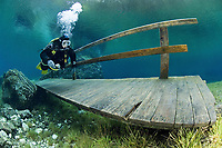 Gr¸ner See, diving fresh water lake, model diving a walking path and bridge. Austria, Tragss