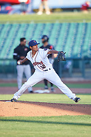 Lancaster JetHawks relief pitcher Moises Ceja (12) during a California League game against the Lake Elsinore Storm on April 10, 2019 at The Hangar in Lancaster, California. Lake Elsinore defeated Lancaster 10-0 in the first game of a doubleheader. (Zachary Lucy/Four Seam Images)