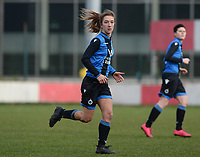 20180127 - AALTER , BELGIUM : Brugge's Katinka Dubois pictured during the quarter final of Belgian cup 2018 , a womensoccer game between Club Brugge Dames and Standard Femina de Liege , in Aalter , saturday 27 th January 2018 . PHOTO SPORTPIX.BE | DAVID CATRY