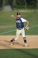 High Point-Thomasville HiToms third baseman Hogan Windish (21) (UNCG) makes a throw to first base against the Deep River Muddogs at Finch Field on June 27, 2020 in Thomasville, NC.  The HiToms defeated the Muddogs 11-2. (Brian Westerholt/Four Seam Images)