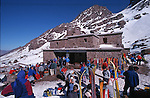 Refuge of Toubkal.Climbing of the mountain Toubkal (4165 m) with mountaineering skis, highest summit of North Africa. Atlas range. Morocco. Africa