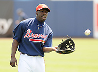 13 April 2008: Outfielder Quentin Davis (18) of the Mississippi Braves, Class AA affiliate of the Atlanta Braves, in a game against the Mobile BayBears at Trustmark Park in Pearl, Miss. Photo by:  Tom Priddy/Four Seam Images