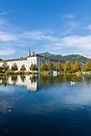 Admont Austria, Styria, Admont: Admont Abbey | Oesterreich, Steiermark, Admont: Stiftsteich und Stift