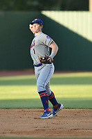 Kingsport Mets Brett Baty (1) warms up between innings of a game against the Elizabethton Twins at Northeast Community Credit Union Ballpark on July 5, 2019 in Elizabethton, Tennessee. The Twins defeated the Mets 7-1. (Tracy Proffitt/Four Seam Images)