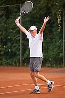 Netherlands, Amstelveen, August 21, 2015, Tennis,  National Veteran Championships, NVK, TV de Kegel,  Men's 75+, Peter Buter celebrates<br /> Photo: Tennisimages/Henk Koster