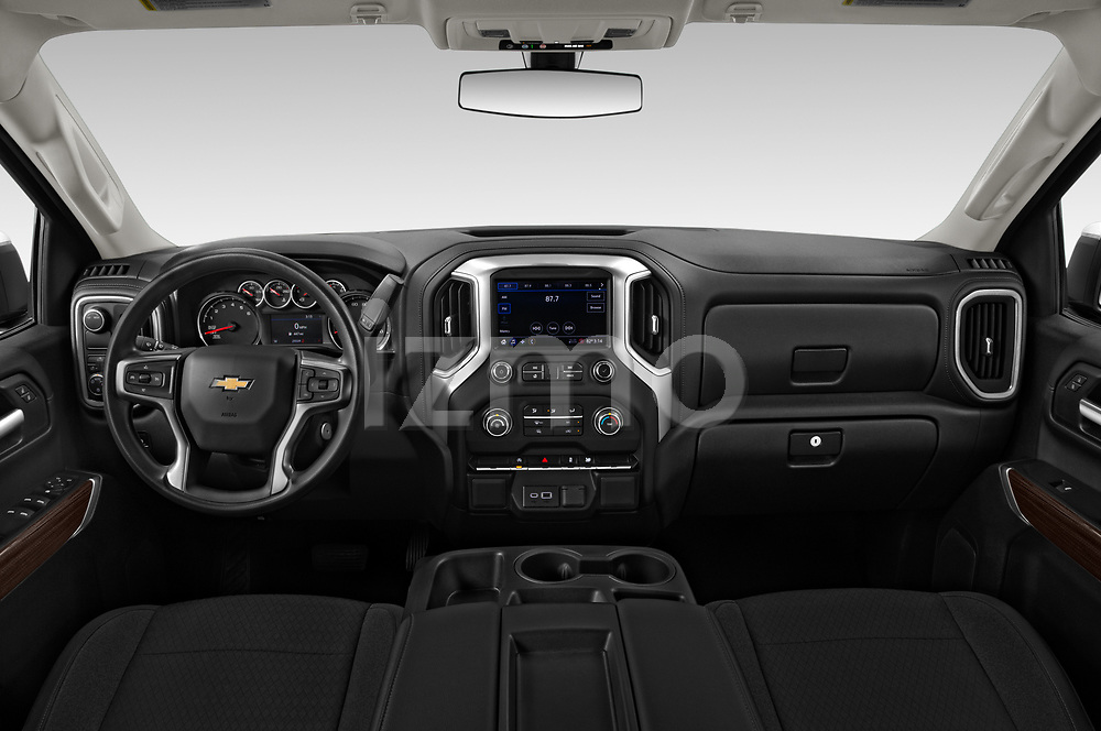 Stock photo of straight dashboard view of 2020 Chevrolet Silverado-1500 LT 4 Door Pick-up Dashboard