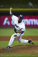 Winston-Salem Dash relief pitcher Jose Nin (32) in action against the Carolina Mudcats at BB&T Ballpark on June 1, 2019 in Winston-Salem, North Carolina. The Dash defeated the Mudcats 5-4 in game two of a double header. (Brian Westerholt/Four Seam Images)