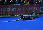 NZ's David Brydon tries to keep the ball in during the Sentinel Homes Trans Tasman Series hockey match between the New Zealand Black Sticks Men and the Australian Kookaburras at Massey University Hockey Turf in Palmerston North, New Zealand on Tuesday, 1 June 2021. Photo: Dave Lintott / lintottphoto.co.nz