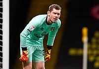 Goalkeeper Michael McGovern of Norwich City during the Sky Bet Championship behind closed doors match played without supporters with the town in tier 4 of the government covid-19 restrictions, between Watford and Norwich City at Vicarage Road, Watford, England on 26 December 2020. Photo by Andy Rowland.