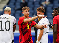 Belgium's Alexis Saelemaekers points during a soccer game between the national teams Under21 Youth teams of Belgium and Germany on the 5th matday in group 9 for the qualification for the Under 21 EURO 2021 , on tuesday 8 th of September 2020  in Leuven , Belgium . PHOTO SPORTPIX.BE   SPP   SEVIL OKTEM