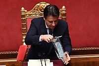 The Italian Premier Giuseppe Conte during the information at the Senate about the government crisis..<br /> Rome(Italy), January 19th 2021<br /> Photo Pool Alessandro Di Meo/Insidefoto